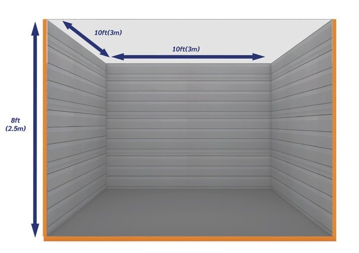 Graphic Empty Unit 100ft - xtra space self storage
